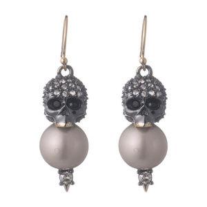 NEW! Crystal Encrusted Skull Pearl Drop Earring